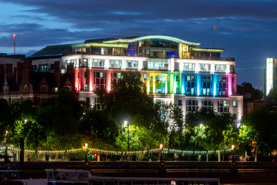 Globe House lighted up in Pride colours